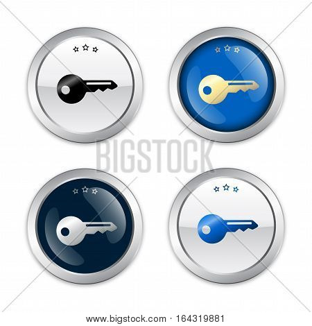 safety seals or icons with key symbol. Glossy silver seals or buttons