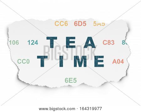 Time concept: Painted blue text Tea Time on Torn Paper background with  Hexadecimal Code