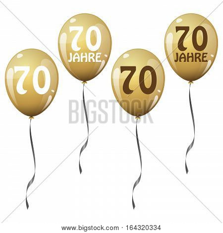 four golden jubilee balloons for 70 years (text in german)