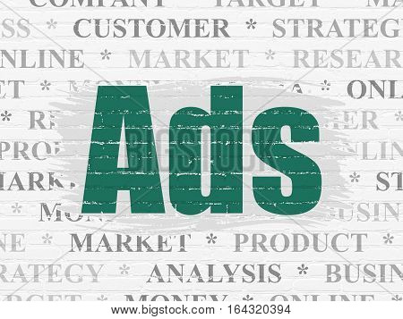 Marketing concept: Painted green text Ads on White Brick wall background with  Tag Cloud