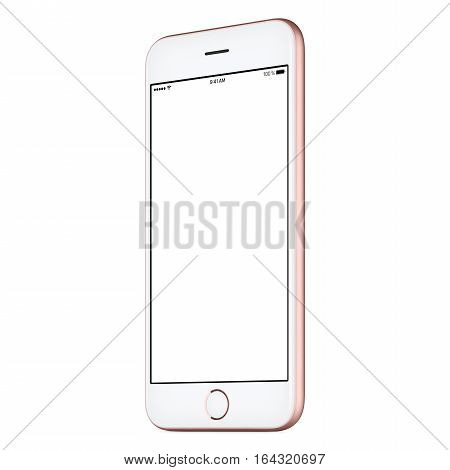 Pink mobile smart phone mock up slightly clockwise rotated with blank screen isolated on white background. Use this smartphone mockup for portfolio or UI-design presentation or ad campaign.