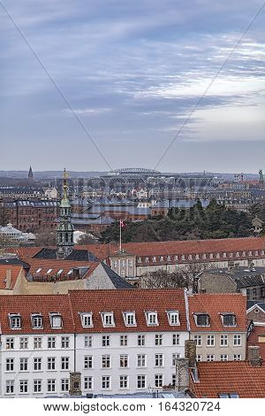 Cityscape of the city from the observation deck at the Round tower (Rundetaarn) in Copenhagen Denmark
