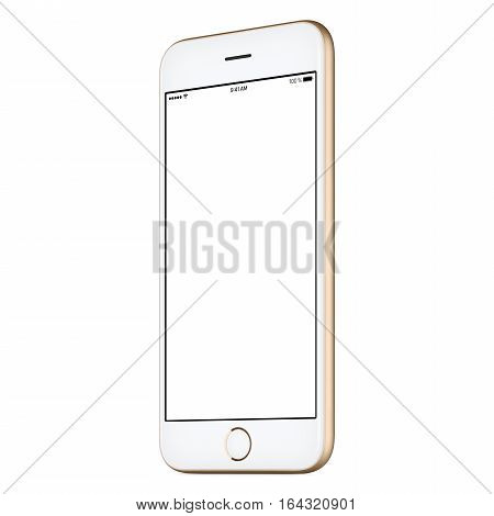 Gold mobile smartphone mock-up slightly clockwise rotated with blank screen isolated on white background. Use this smart phone mockup for portfolio or UI-design presentation or ad campaign.