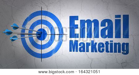 Success marketing concept: arrows hitting the center of target, Blue Email Marketing on wall background, 3D rendering