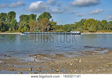 Low Water at Rhine River in Rhineland,North Rhine Westphalia,Germany