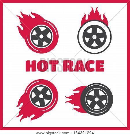 Racing flat labels set. Blaze and flash logo. Hot race vector