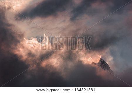 Fire sunrise in the mountains. Nepal, Manaslu