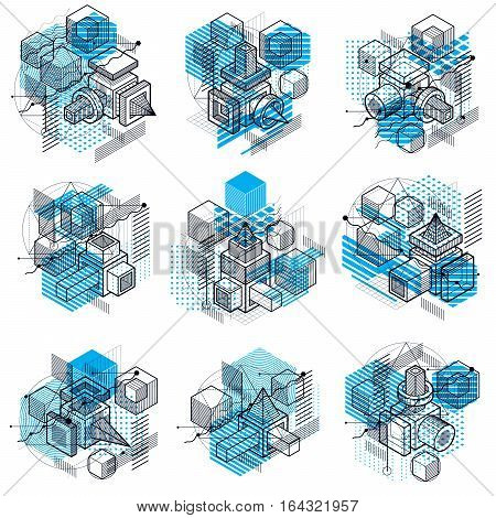 Abstract Backgrounds With Isometric Lines, Vector Illustrations. Templates Made With Cubes, Hexagons
