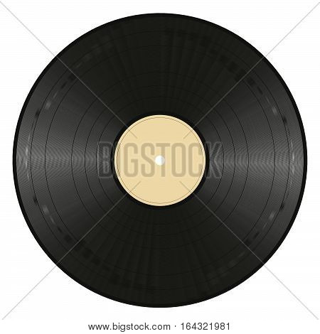 black vinyl record with empty ocher label on white background