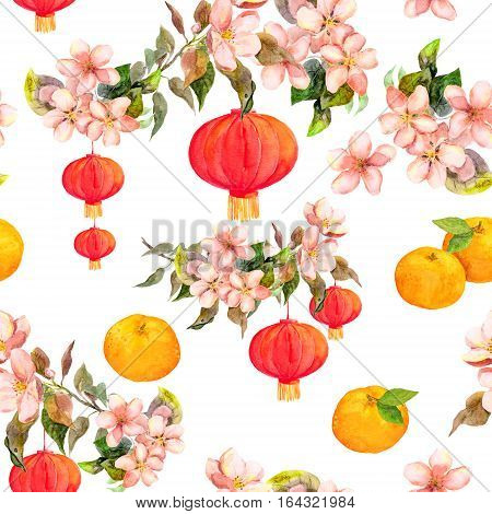 Holiday branch of mandarin with blossom plum and red paper lantern. Chinese new year repeating background. Watercolor