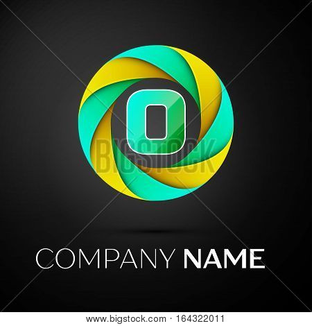 Letter O vector logo symbol in the colorful circle on black background. Vector template for your design