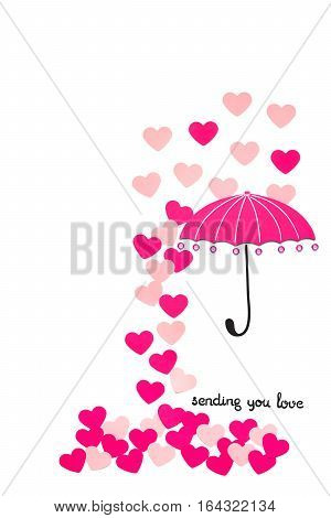 Creative valentines concept photo of paper umbrella with hearts raining down on white background.