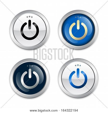 On seals or icons with start symbol. Glossy silver seals or buttons with stars.