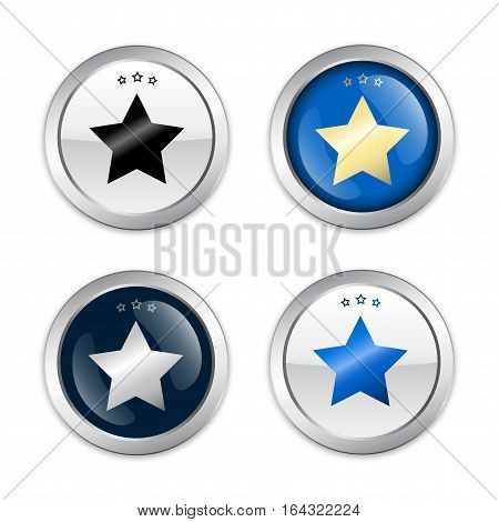 Finest quality seals or icons with star symbol. Glossy silver seals or buttons with stars