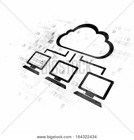 Cloud technology concept: Pixelated black Cloud Network icon on Digital background