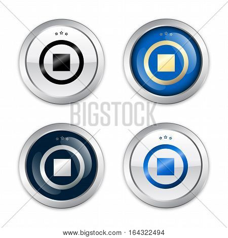 Stop seals or icons with press stop symbol. Glossy silver seals or buttons