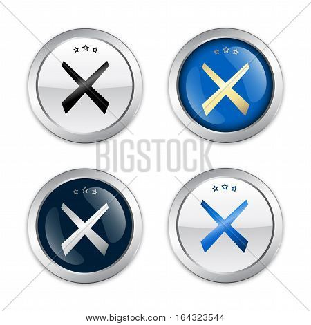 Stop seals or icons with cross symbol. Glossy silver seals or buttons