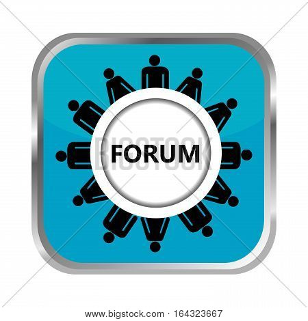 Forum blue button with group of people