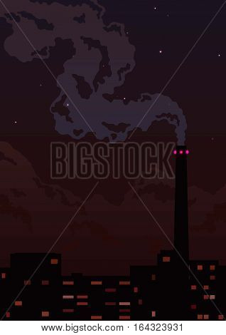 Factory pipe with smoke and lights under the night sky and stars
