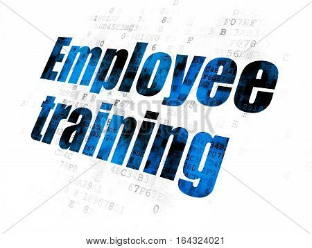 Learning concept: Pixelated blue text Employee Training on Digital background
