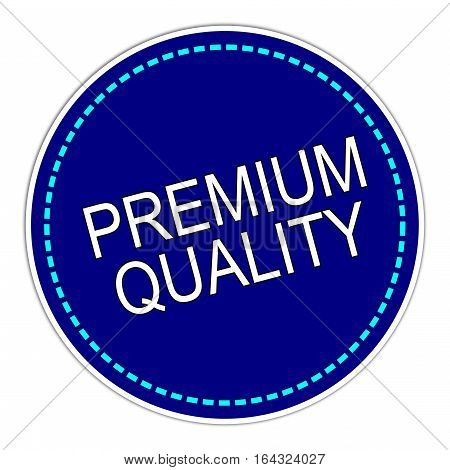 blue Premium Quality sticker on white background - illustration
