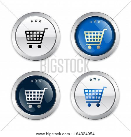 Sale seals or icons with shopping cart symbol. Glossy silver seals or buttons