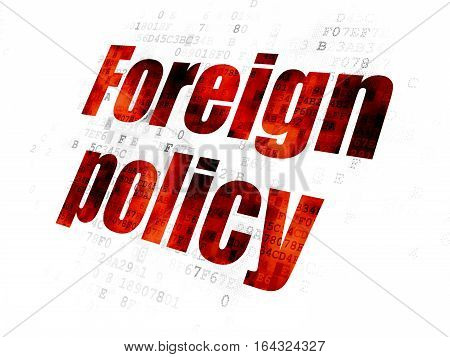 Politics concept: Pixelated red text Foreign Policy on Digital background
