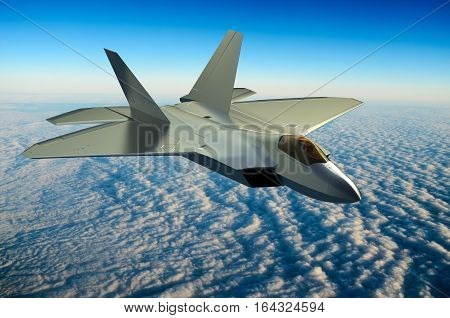 Fighter jet flying above the clouds 3D rendering