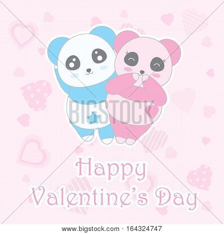 Valentine's day illustration with cute boy and girl panda on love background suitable for Valentine's greeting card, invitation card, and postcard