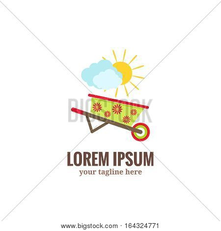 Garden tools logo. Green garden wheelbarrow with red flower drawing, clouds and sun.Flat cartoon style vector illustration isolated on white background.