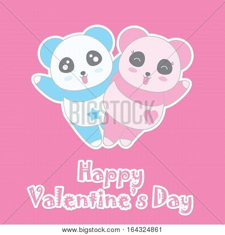 Valentine's day illustration with cute boy and girl panda on pink background suitable for Valentine's greeting card, invitation card, and postcard