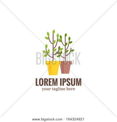 Saplings of garden trees or plants in flowerpots .Vector logo symbol of gardening and floriculture isolated on white background. Cartoon style vector illustration