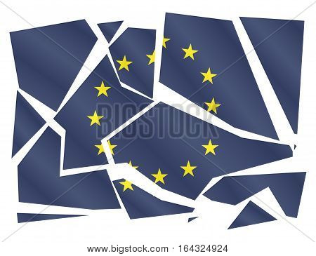 A broken EU flag isolated on a white background