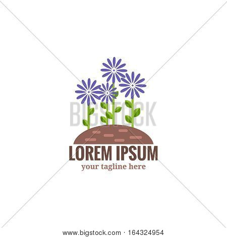 Gardening and floriculture logo. Violet flowers grow on  bed of the earth. Symbol of successful gardening, floriculture and truck farming. The vector illustration isolated on  white background