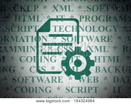 Software concept: Painted green Gear icon on Digital Data Paper background with  Tag Cloud