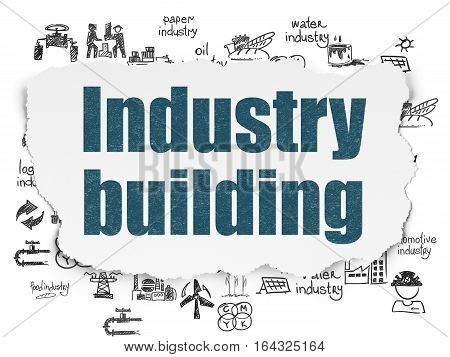Manufacuring concept: Painted blue text Industry Building on Torn Paper background with  Hand Drawn Industry Icons