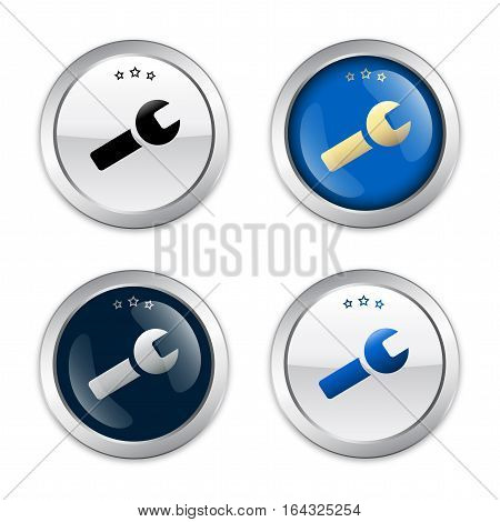 IT-Service seals or icons with forceps symbol. Glossy silver seals or buttons.