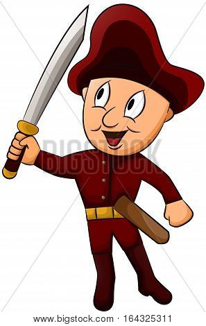 Little Captain with Sword Cartoon Character. Vector Illustration.