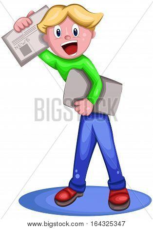 Boy Selling Newspaper Cartoon Character. Vector Illustration.