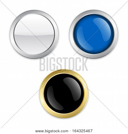 Blank seals or icons. Glossy silver seals or buttons with copy space.