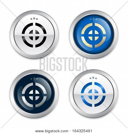Goal seals or icons with target symbol. Glossy silver seals or buttons.