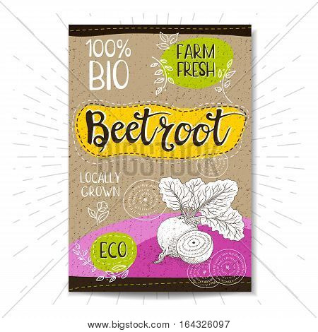 Colorful label in sketch style, food, spices, cardboard texture background. Beet beetroot Vegetables. Bio, eco, farm, fresh. locally grown. Hand drawn vector illustration