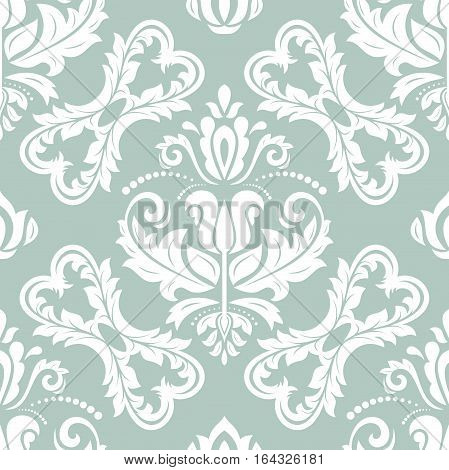 Oriental vector classic blue and white pattern. Seamless abstract background with repeating elements. Orient background