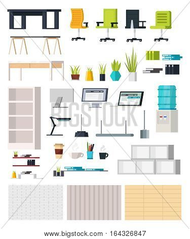 Office interior elements collection with tables chairs monitors plants bookshelves lamps stationery water cooler isolated vector illustration