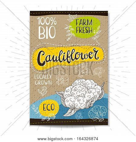 Colorful label in sketch style, food, spices, cardboard textured background. Cauliflower Vegetables. Bio, eco, farm, fresh. locally grown. Hand drawn vector illustration