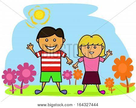 Happy Little Boy and Girl in the Beautiful Garden Cartoon. Vector Illustration.