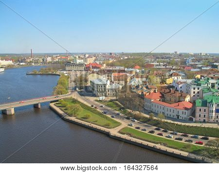 Russian Federation. Top-view of the city of Vyborg