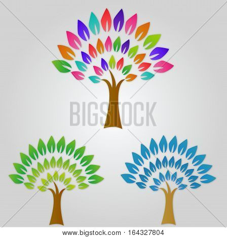 Stylized vector tree collection. Vector tree flat . Tree different Colors . Tree icons set. Tree eco nature. collection of tree. Leaves, tree. Tree