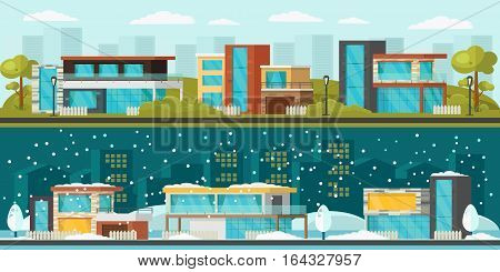Suburban landscape horizontal banners with modern residential houses at summer and winter time vector illustration