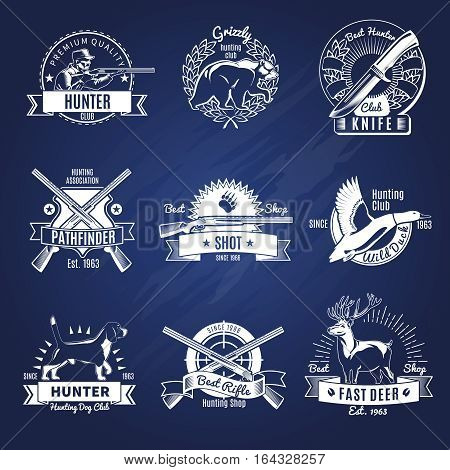 Hunting design elements set of labels emblems stickers logotypes with wild animals and weapon isolated vector illustration